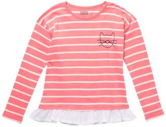 Harper Canyon Stripe Chiffon Hem T-Shirt