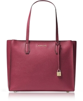 Michael Kors Mercer Large Mulberry Pebble Leather Top Zip Tote Bag