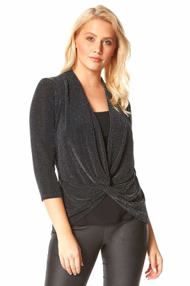 Roman Originals Women Twist Front Sparkle Embellished Glitter Top - Ladies Party Special Occasion Christmas New Year Shimmer 3/4 Sleeve Knot Detail Wrap Over Style Overlay Top - Black - Size 14