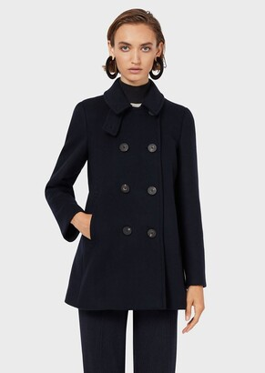Emporio Armani Double-Breasted Pea Coat In Casentino Wool