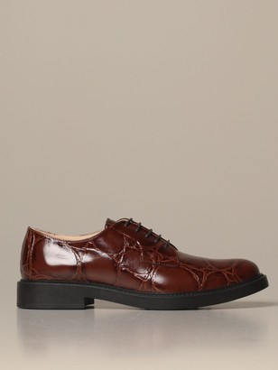Tod's Tods Oxford Shoes Tods Derby In Brushed Leather With Crocodile Print