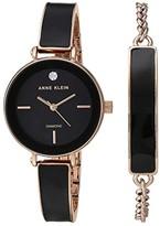 Anne Klein Watch and Bracelet Set (Black/Rose Gold-Tone) Watches