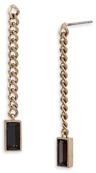 AllSaints Black Baguette Crystal & Chain Linear Drop Earrings