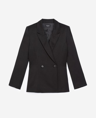 The Kooples Black double-breasted textured fabric jacket
