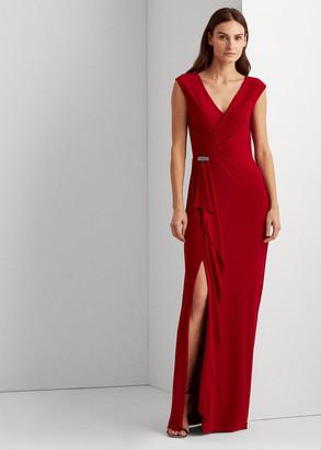 Ralph Lauren Ruffle-Trim Jersey Gown