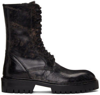 Ann Demeulemeester SSENSE Exclusive Black Distressed Tuscon Lace-Up Boots