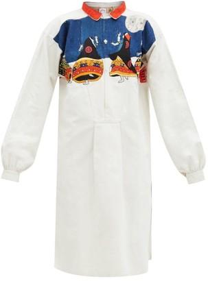 Kilometre Paris - Thar Desert Embroidered Cotton Shirt Dress - White Multi