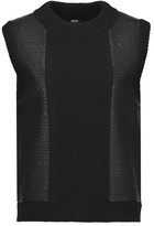 Raoul Faux textured-leather and stretch-knit top