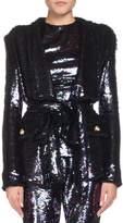 Balmain Wrap Waist Sequin Blazer