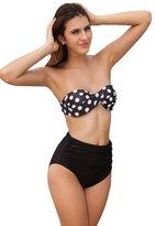 Relaxlama Women's Polka Dots High Waist Bikini Set