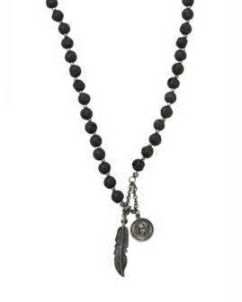 Mr Ettika Lava Stone Rosary Necklace with Feather and Mary Pendants