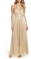 LuLu*s Women's Metallic Halter Gown