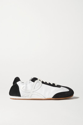 Loewe Suede, Canvas And Leather Sneakers - White