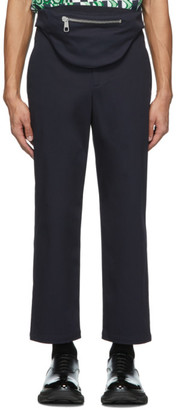 Neil Barrett Navy Gabardine Bum Bag Tube Trousers
