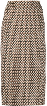 Diane von Furstenberg Geometric Pattern High-Wasit Skirt