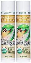 Badger Unscented Lipstick/Balm .15 Oz Set of 2