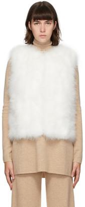 Yves Salomon White Feather Cropped Vest