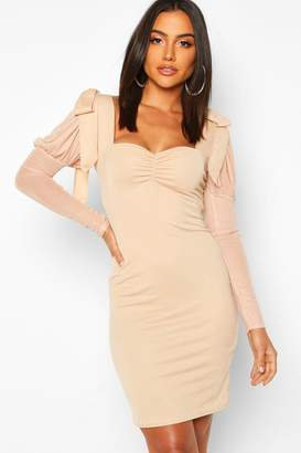 boohoo Bow Shoulder Mesh Sleeve Bodycon