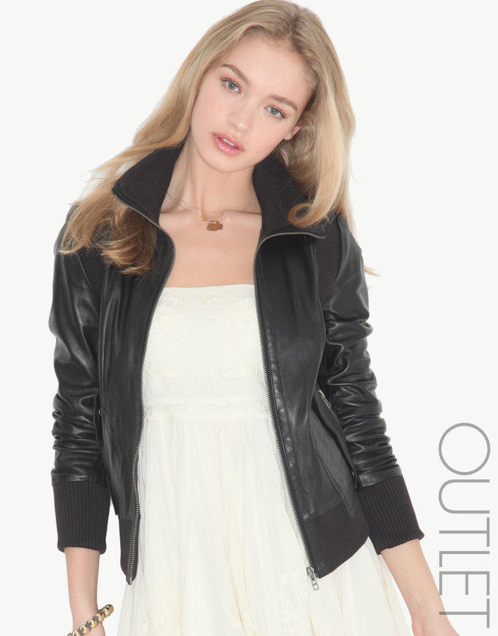 Muu Baa muubaa Rib Detail Leather Jacket
