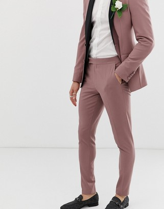 ASOS DESIGN wedding super skinny tuxedo suit trousers in mauve