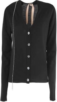 N°21 N.21 Black Wool-silk Blend Fitted Cardigan