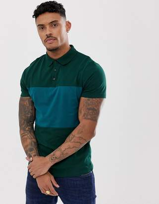Asos DESIGN polo shirt with contrast body panel in khaki