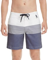 Z Zegna Stripe Color Block Swim Trunks