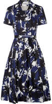 Jason Wu Pleated Printed Cotton-poplin Dress - Navy