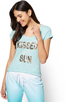 """New York & Co. Sequin """"Kissed by the Sun"""" Graphic Logo Tee"""