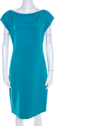 Elie Tahari Jade Green Knit Bateau Zipper Neck Detail Frayed Hem Shift Dress M