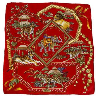 One Kings Lane Vintage Ferragamo Jungle Animals Pochette Scarf - The Emporium Ltd. - red/gold/multi-color
