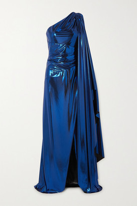 Semsem One-sleeve Draped Silk-blend Lame Gown - Royal blue
