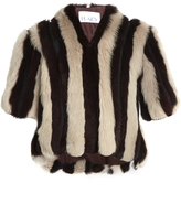Raey Striped short shearling coat