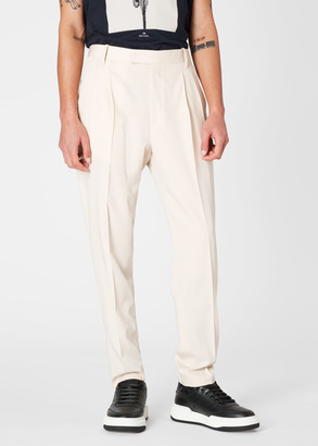 Paul Smith Men's Stone Pleated Wool Trousers