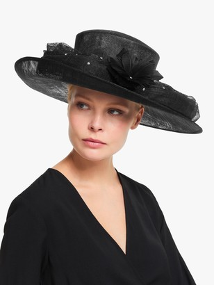 John Lewis & Partners Carrie Flower and Crystal Detail Occasion Hat, Black