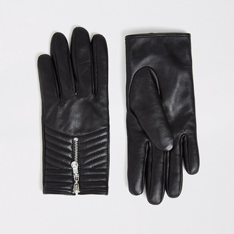 River Island Black quilted leather gloves