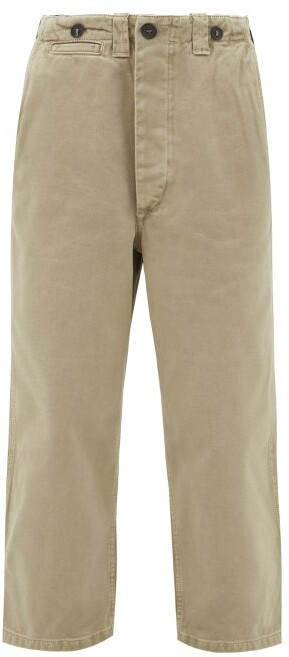 Thumbnail for your product : Raey Wide-leg Cotton-twill Chino Trousers - Khaki
