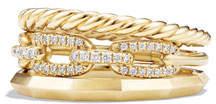 David Yurman 9.5mm Stax Three-Row 18K Chain Link Ring with Diamonds, Size 7