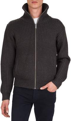 The Kooples Rib-Knit Leather-Patch Zip Sweater