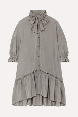 See by Chloe Pussy-bow Ruffled Gingham Crepe De Chine Dress - Gray