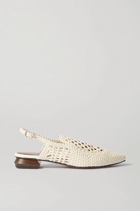 Souliers Martinez Gloria Woven Leather Point-toe Flats - Off-white