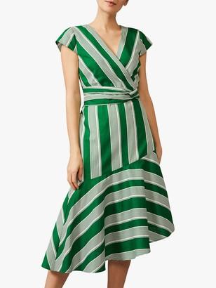 Phase Eight Betka Stripe Midi Dress, Green/White