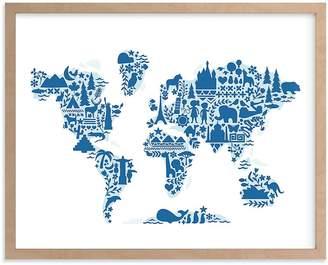 Pottery Barn Kids Little Big World Map Wall Art by Minted® 11x14, White