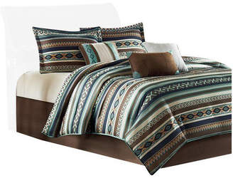 Madison Home USA Signature Microfiber Printed 7-Piece Comforter Set, Blue, Queen