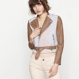 Maje Cropped tricolour leather jacket