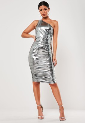 Missguided Silver Slinky One Shoulder Midi Dress