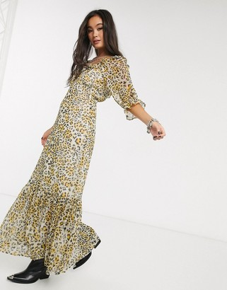 ASOS DESIGN scoop neck maxi dress with pep hem in leopard print