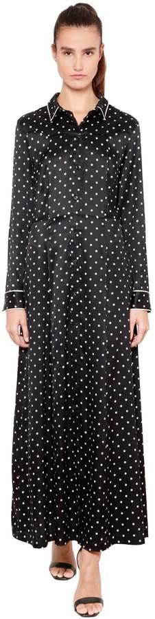 Ganni Polka Dot Silk Satin Shirt Dress