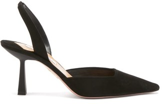 Aquazzura Maia 75 Suede Slingback Pumps - Black