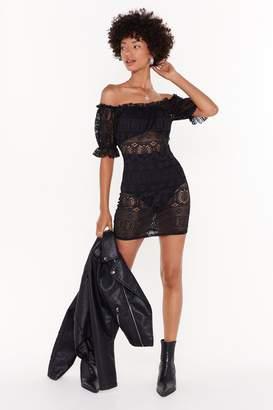 Nasty Gal Womens Day Off-the-Shoulder Crochet Mini Dress - black - 8